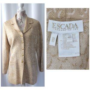 Escada Gold Ivory Jacquard Long Jacket Wool Blend